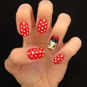 Betty Boop Halloween Nail Art