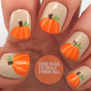 pumpkin nail art tutorial