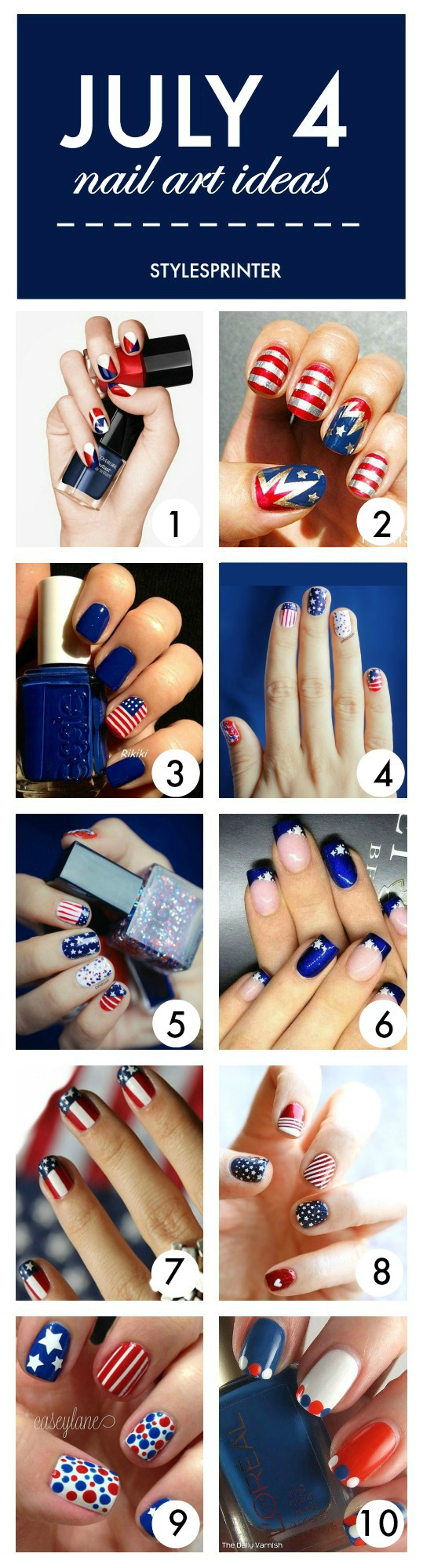 July 4th Nail Art Ideas - Patriotic Nails