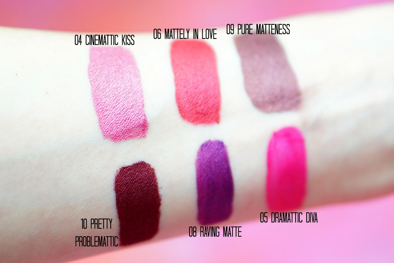 Milani Amore Matte Liquid Lipstick swatches