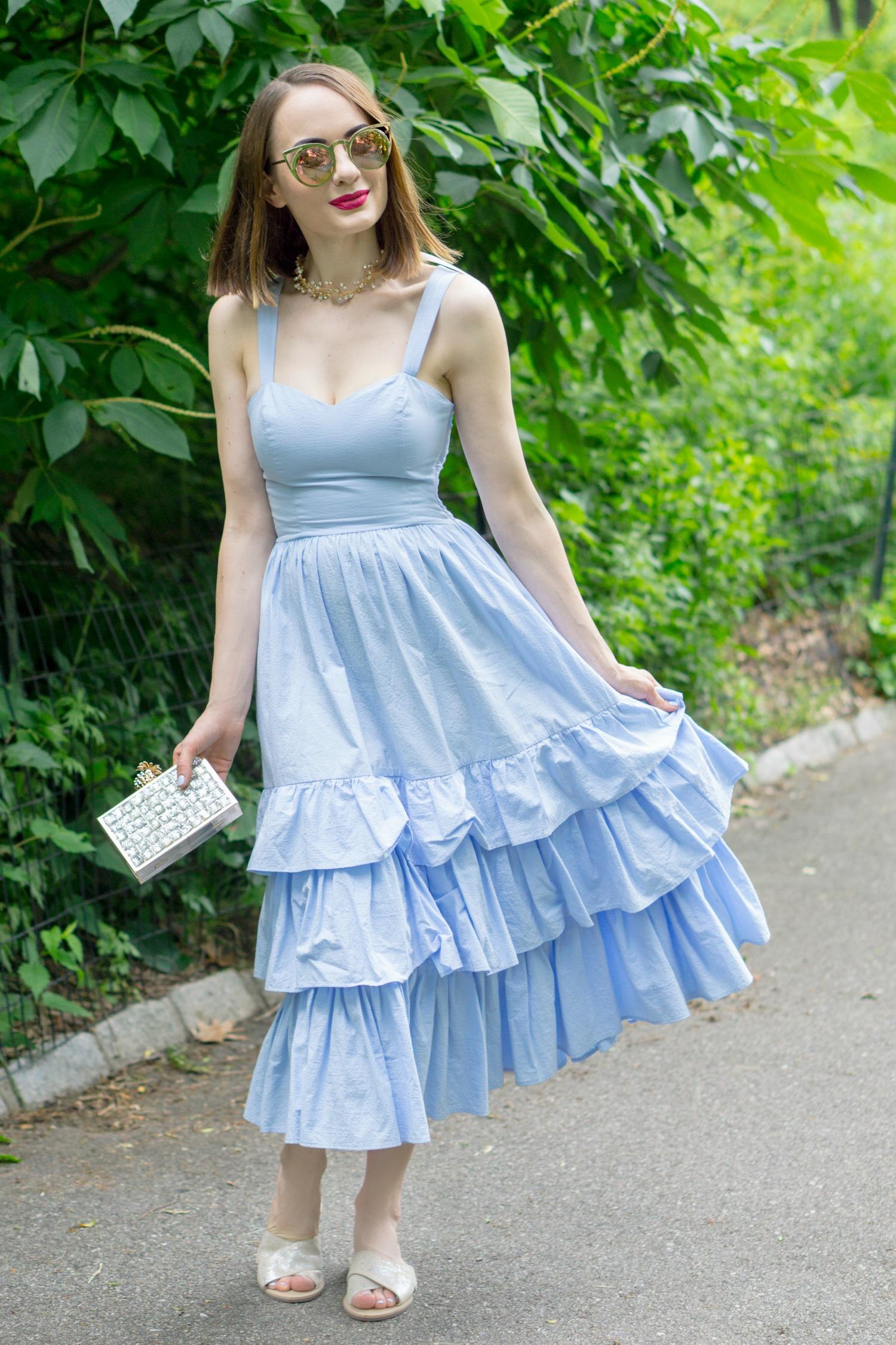 Light Blue Ruffle Dress - Style Sprinter