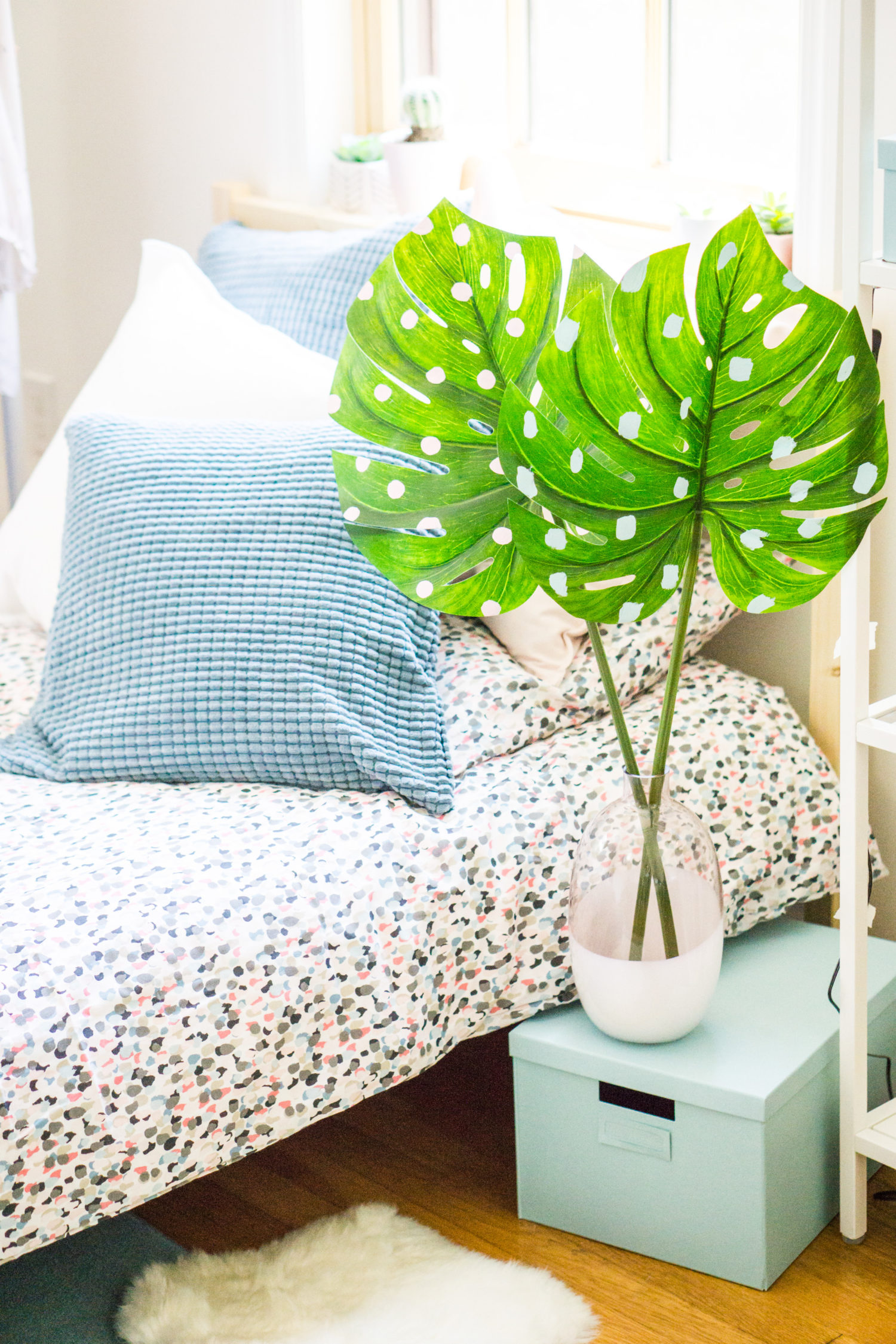 DIY dorm decor idea - pink polka dot palm leaves
