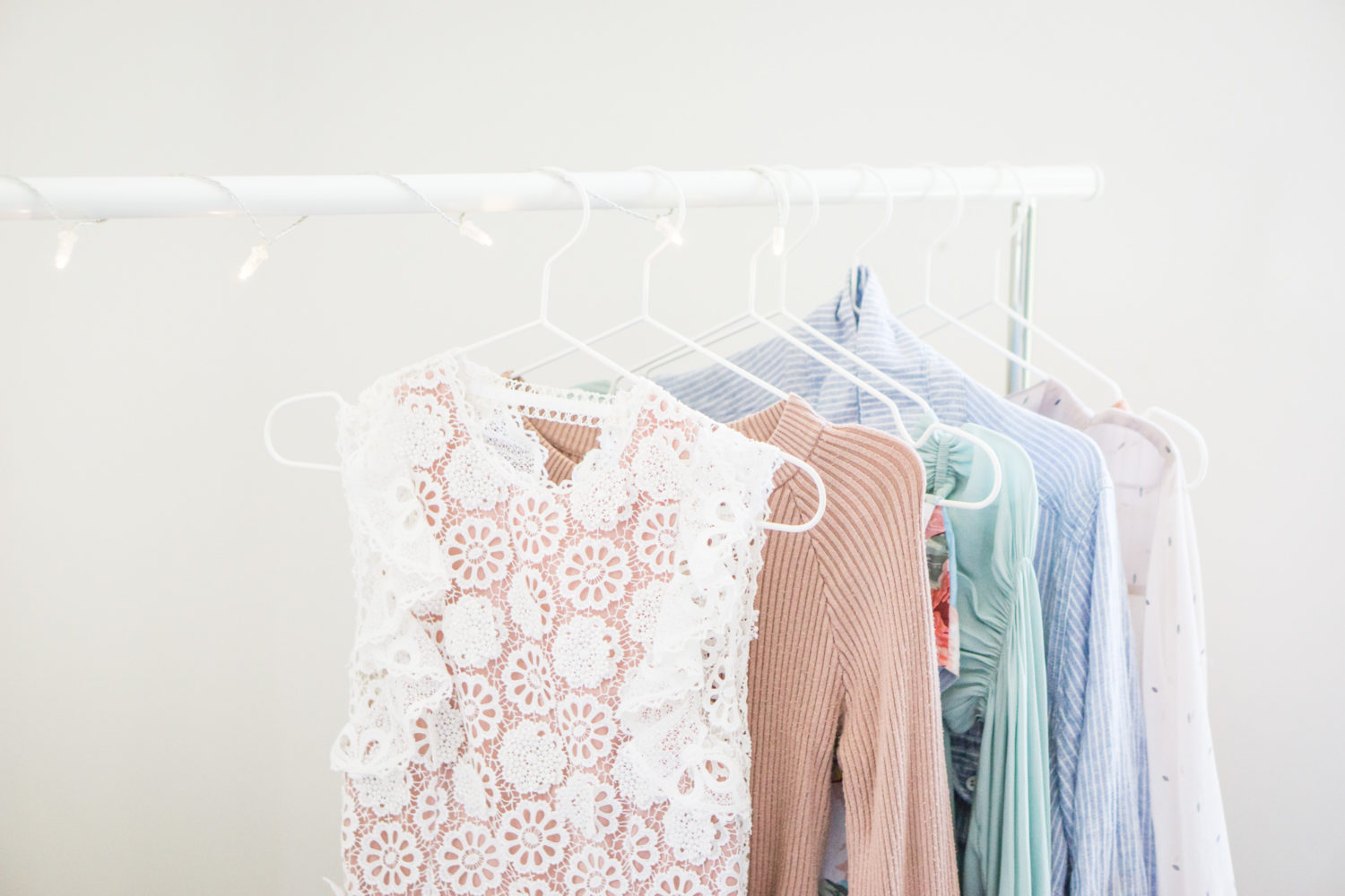 IKEA hack - light string clothes rack