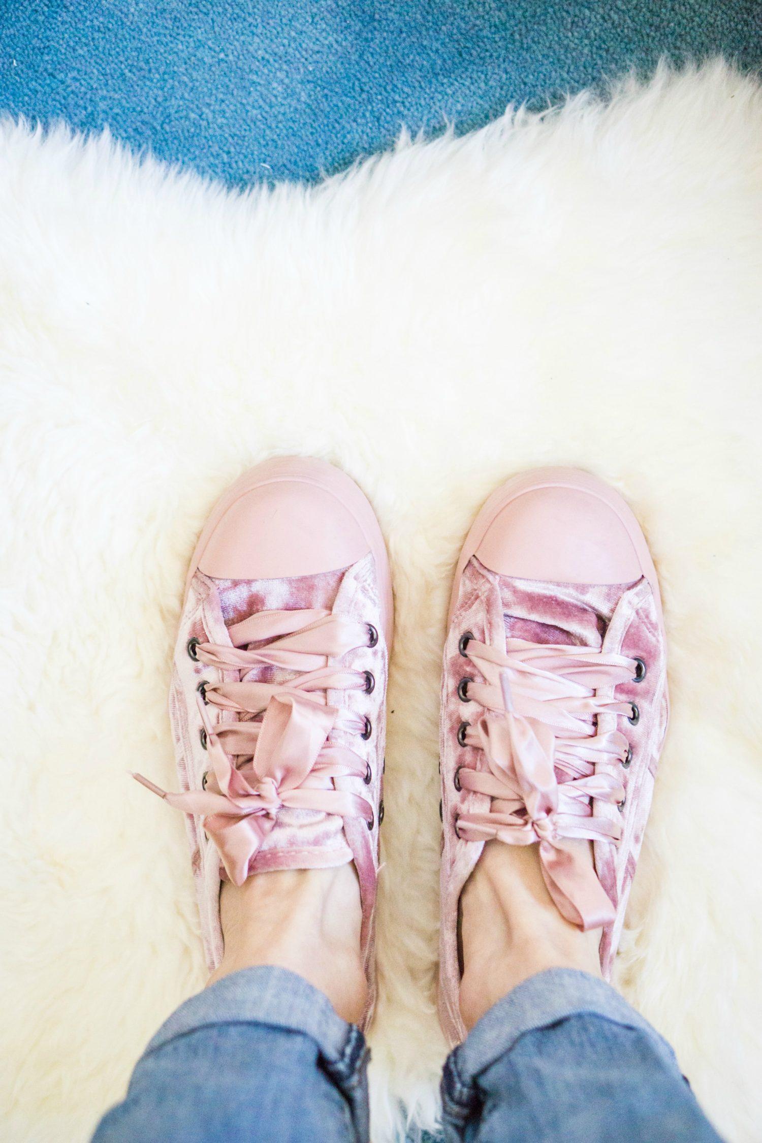 Rocket Dog pink velvet sneakers